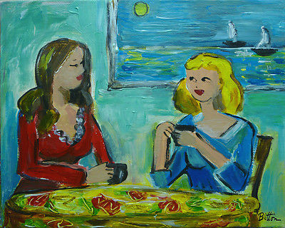 ORIGINAL FAUVE STYLE PAINTING, 8X10, TWO WOMEN AT A CAFE, by Artist R. BITTON