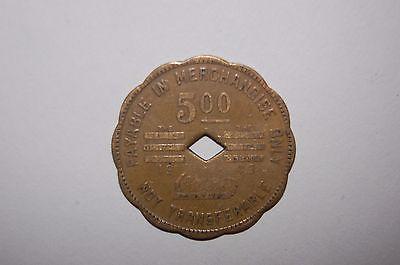 BLUE DIAMOND COAL CO STORE SCRIP $5.00 TRADE TOKEN 1943 BONNY BLUE VA LEE CO