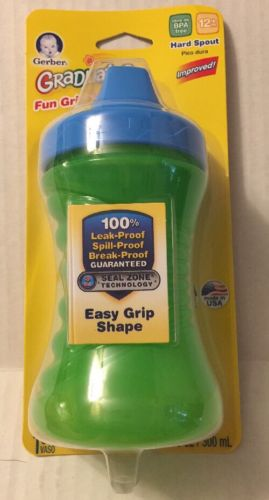 Gerber Cup Hard Spout Fun Grips Nuk 10 Oz NIP Green Blue