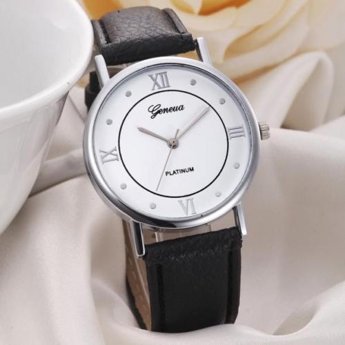 Platinum Luxury Black Leather Stainless Men Women Quartz Dress Fashion Watch