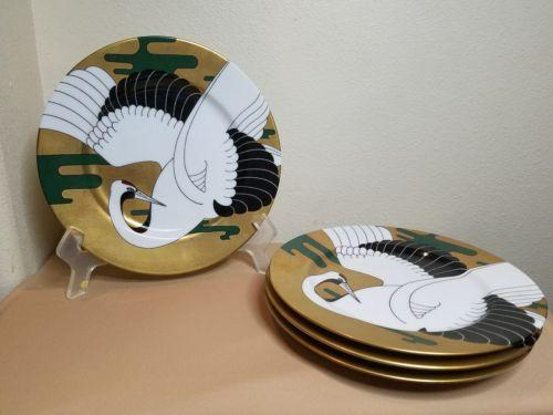 SET 4 Fitz and Floyd Golden Tancho Stork Salad Plates 52 Japan Fine Porcelain FF