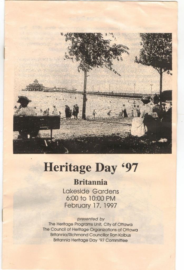 1997 Ottawa Ontario Canada history Britannia Beach area park Heritage Day info