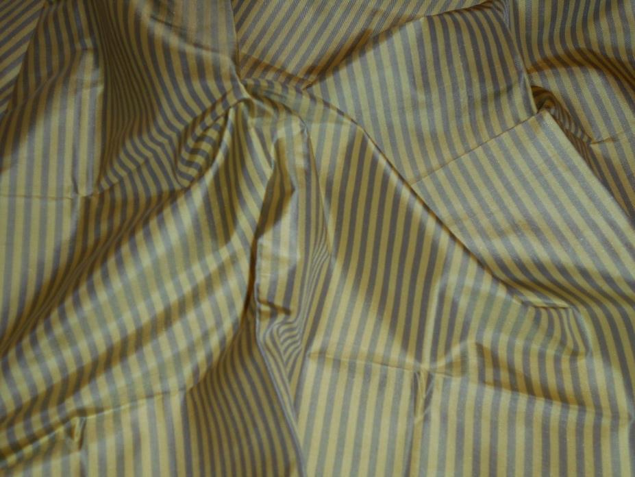 SCALAMANDRE 100% Silk Taffeta Yellow & Grey Stripe 21