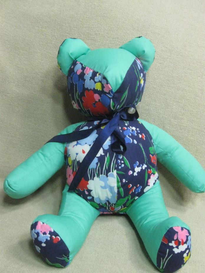 Handmade Stuffed Teddy Bear 15 inches Green Floral