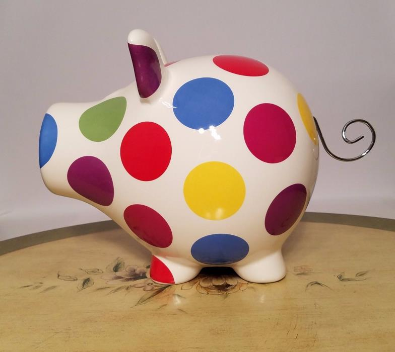 Crate & Barrel Ceramic POLKA-DOT PIGGY BANK NEW
