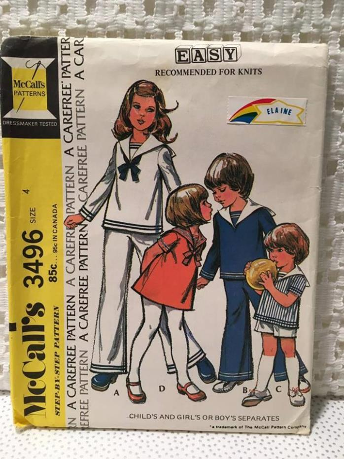 Vintage McCall's Uncut Pattern 3496 Boy or Girl Sz. 4 Sailor Pant Dress Top