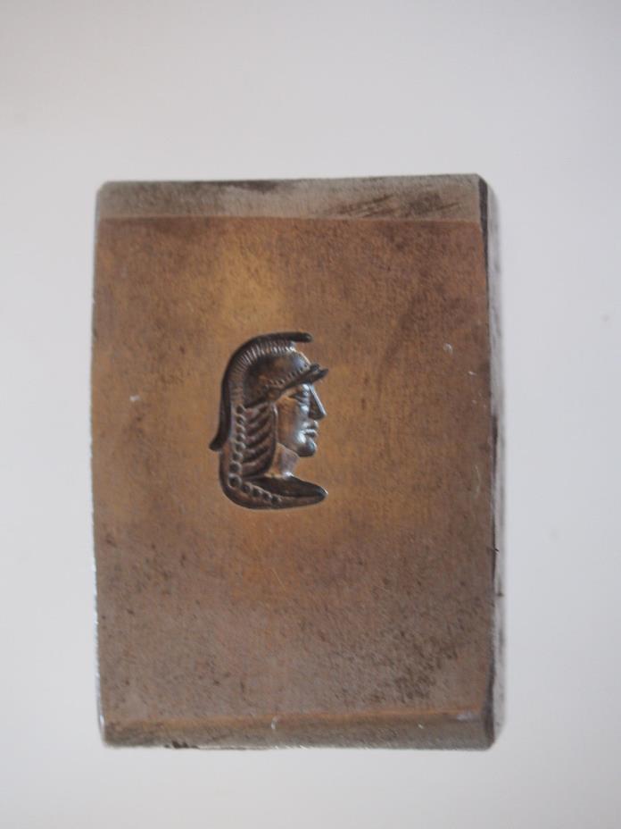 Old Dap Metal Form Block~Figural Roman Soldier Face w Helmet~Jeweler Metalsmith