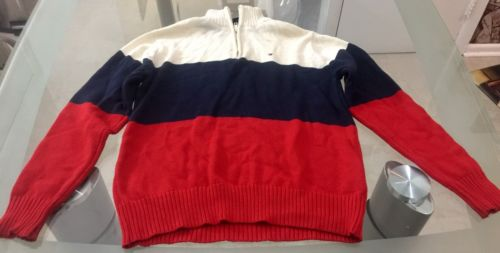 kids clothes Tommy Hilfiger Sweater Boys M 12/14 red blue cream