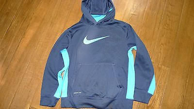 Boys Nike Therma Fit hoodie size Large for youth navy blue with light blue