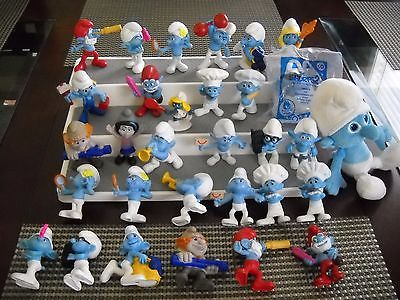 McDonalds Lot of 29 Vintage Smurf Figures Figurines PVC One Plush and one Pevo