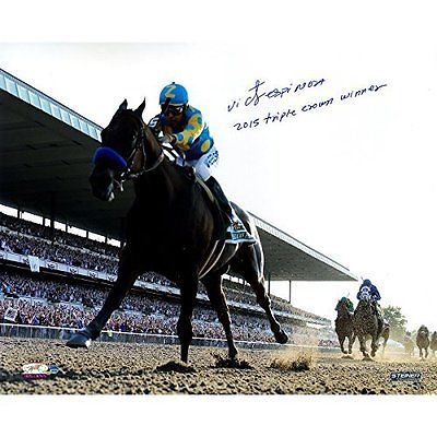 Victor Espinoza Signed American Pharoah Leads The Pack 2015 Belmont Stakes