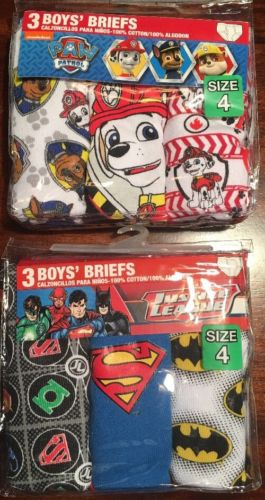 2 Packs If Boys Briefs Size 4. Paw Patrol And Justice League