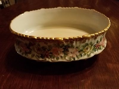 Vintage Antique Nippon Large Handpainted Oval Footed Bowl Gold & Moriage Beading