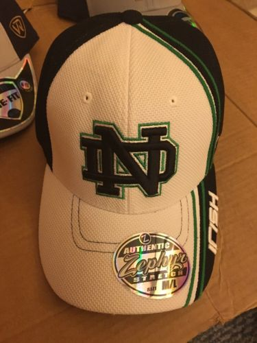 Notre Dame Fighting Irish NEW Mens Hat Cap Blue White Medium Large ND & Clover