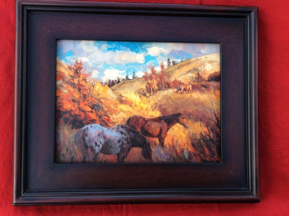 ORIGINAL, FRAMED by Steve Henderson horses landscape, oil painting, image 9