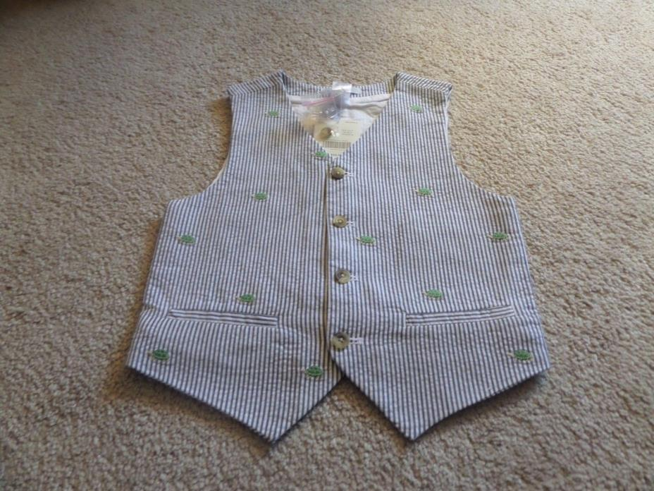 Boys Gray Seersucker Pin-stripped turtles Lined Janie and Jack Vest NWT Size 6