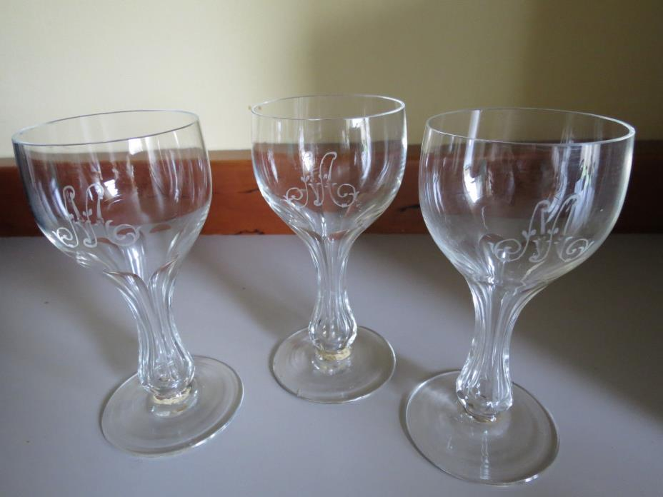 antique crystal champagne glasses with hollow stem (and monogram)