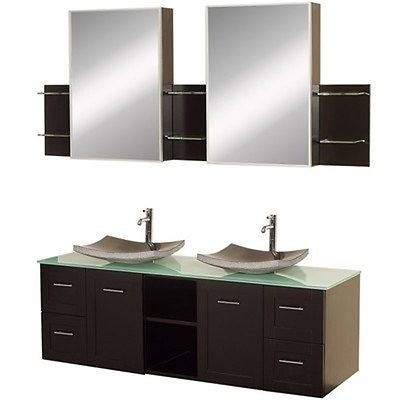 Wyndham Collection Avara 60 inch Double Bathroom Vanity in Espresso, Green Glass