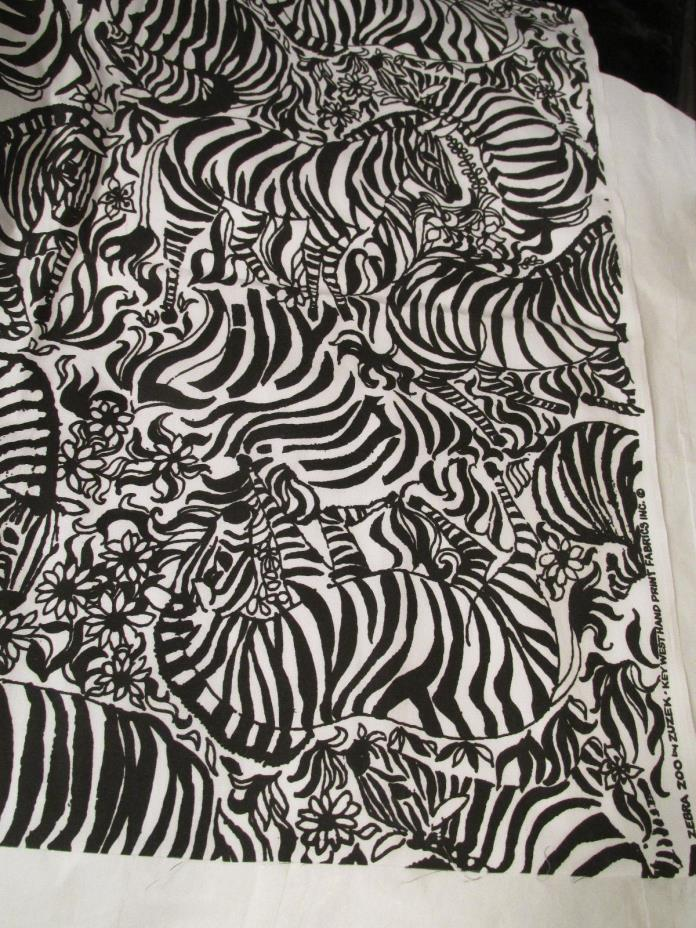 NOS LILLY PULITZER Zebra Zoo by Zuzek Key West Hand Print Fabrics over 0.5 yd