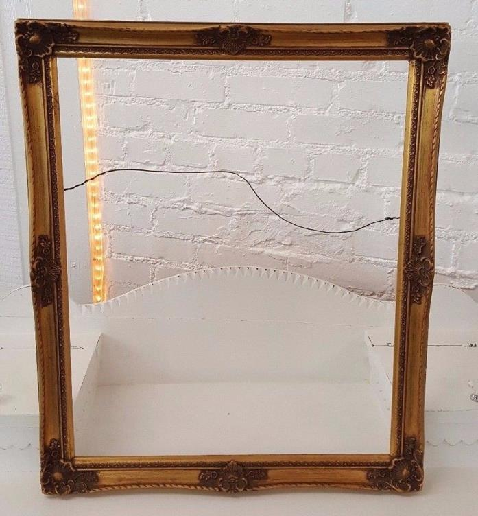 Vintage Picture Frame Bright & Dark Gold Antique Ornate- 21