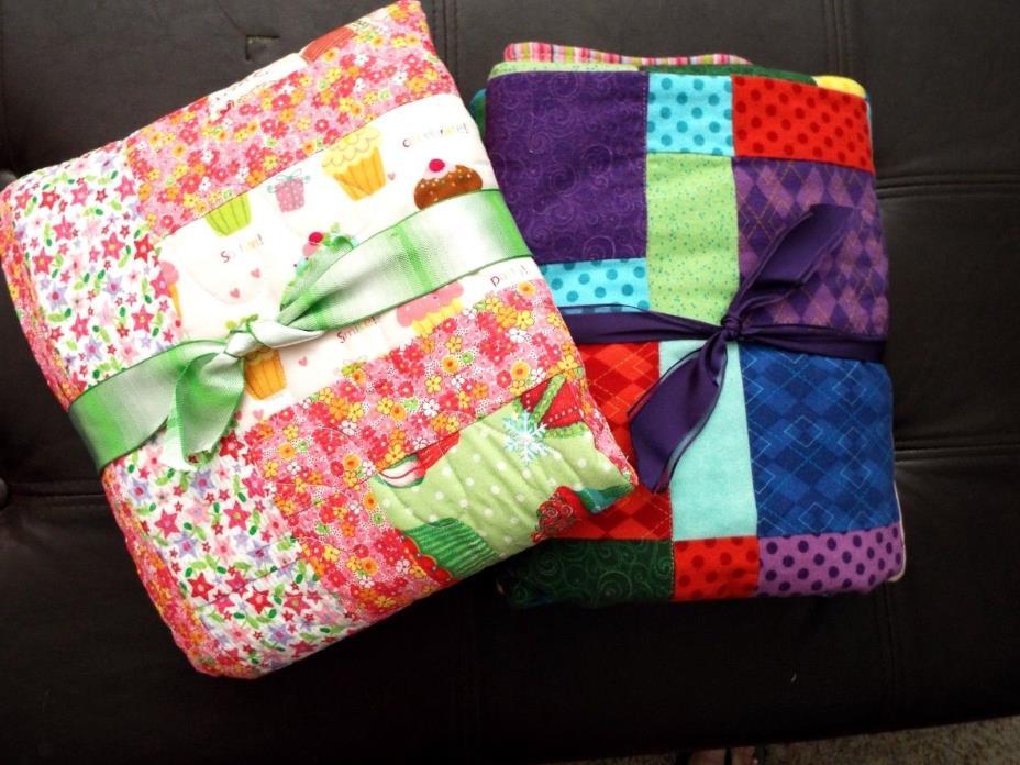 2 NEW Homemade Reversible Girls Crib Quilts 36