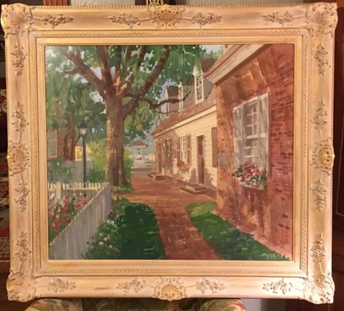 Original Oil on Canvas Painting Williamsburg Colonial Virginia William Benecke