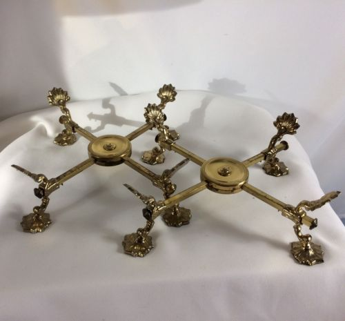 2 Vintage Andrea by Sadek Adjustable Brass Bowl Stands Original Tags 8