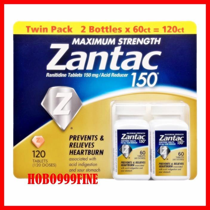MAXIMUM STRENGTH Zantac 150  120 Tablets  Heartburn  Best Deal