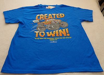 Boys short sleeve tee with a religous them on front. Royal blue, size medium  8