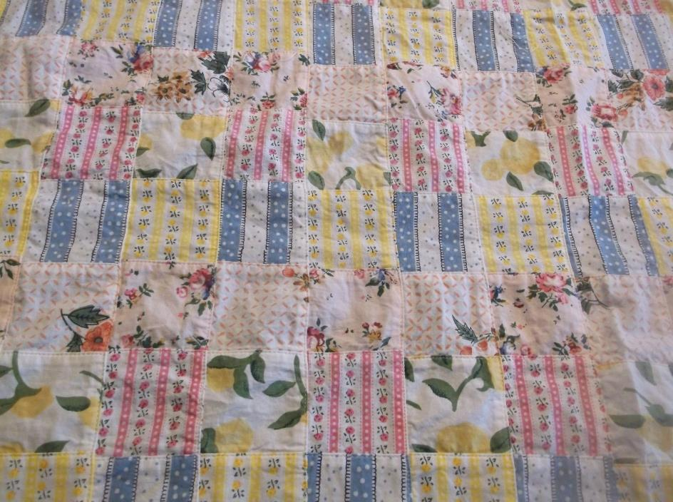 vtg patch work cotton print sewing fabric, 51 by 46