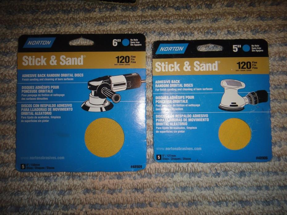2 Packs Of 5 Each - NORTON Stick & Sand - One 5