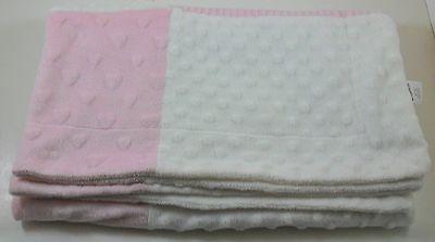 Cutie Pie white pink baby crib blanket hearts minky texture 30