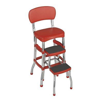 Retro Kitchen Step Stool Seat Red Mid-Century Vinyl Chrome Styling by Cosco