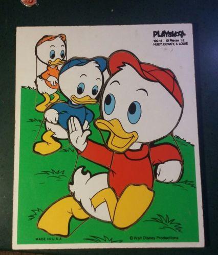 Vintage Disney Wood Puzzle Playskool Huey Louie and Dewey 10 Pieces 9 x 11.5
