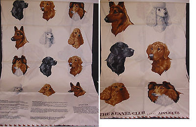 Kennel Club Dogs Joan Messmore Applique Fabric Panel Project Gift/Quilt/Pillow
