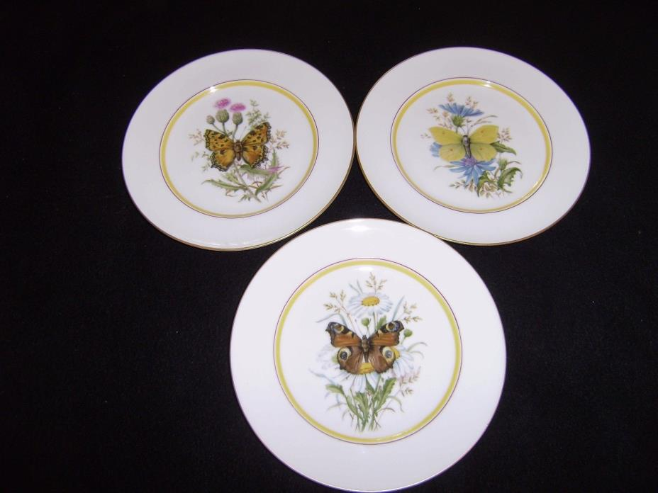 3 Vintage ROYAL RAYREUTH, of Germany 7 1/4 Inch Dessert Plates with Butterflies