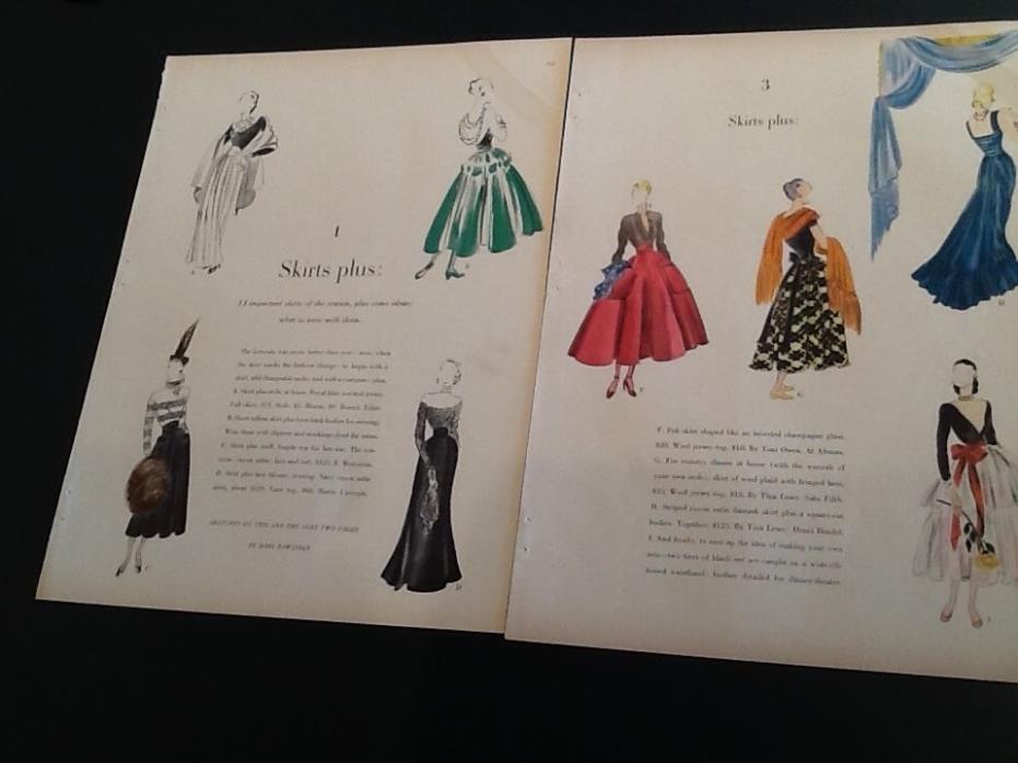 1947 BABS RAWLINGS ART Skirts Tina Lesser+++Fashion Vintage Magazine Print AD