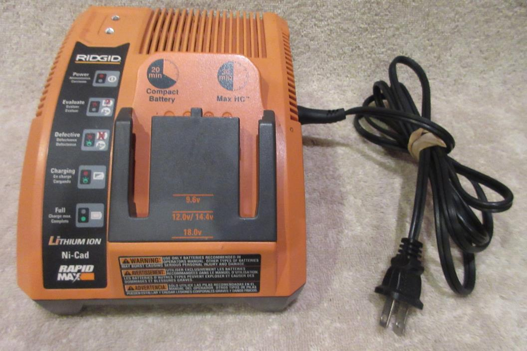 Ridgid Rigid Lithium Ion Ni-Cad Battery Charger Rapid Max 9.6V-18V R840091 WORKS