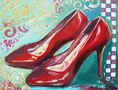 ORIGINAL TRENDY  FASHION ART  8x10, RED HOT STILETTOS, by Artist R. Bitton
