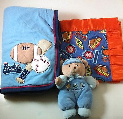 Carters Blue Blanket Little Rookie Sports 25 x 30 Quilted Bear Plush Set of 3