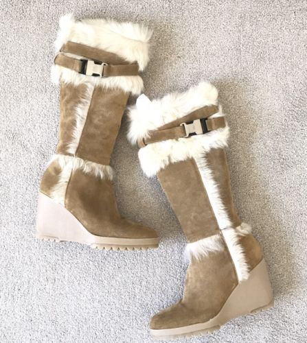 COACH Signature Sharma Suede / Shearling Camel Wedge Boots Size 9.5 Retail $500