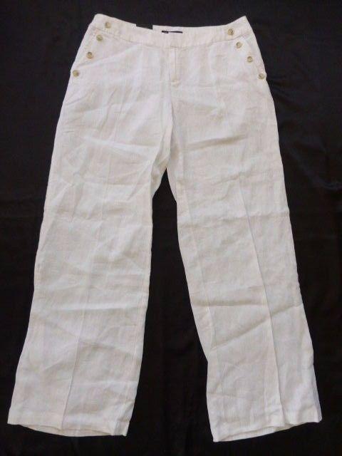 NEW Women's INC 100% Linen Wide Leg Curvy Fit Low Rise Pants - Sz 10 NWT