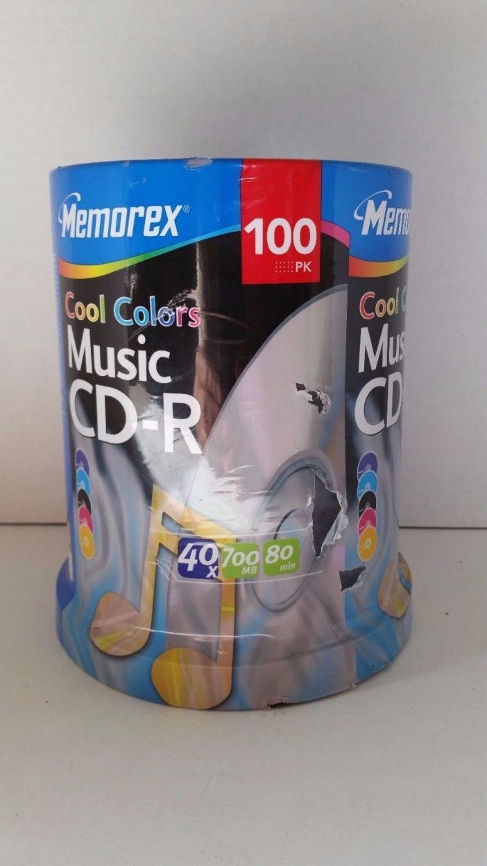 Memorex Cool Colors Music CD-R 40X 700MB 80 minute 100PK Spindle NEW