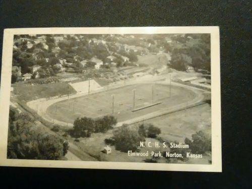 Vintage RPP N. C. H. S. Stadium Elmwood Park, Norton, Kansas • Postcard