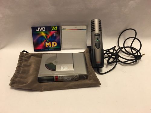 SONY MZ-R37 Portable Minidisc Player Recorder+SONY ecm-ms907 mic in tested WORK