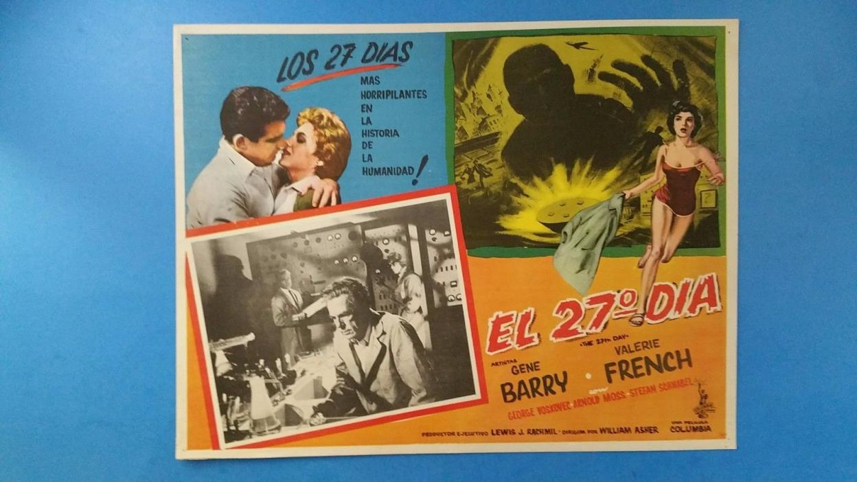 Rare Vintage Original THE 27TH DAY(1957) Mexican Lobby Card