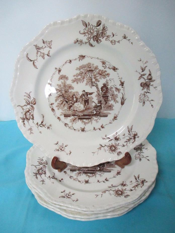 BROWN TRANSFER WARE MASON'S WATTEAU ENGLAND SET OF 5 DINNER PLATES