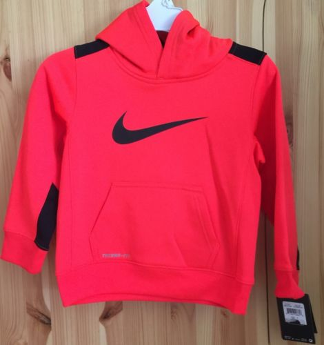Nike Boys Therma-FIT Fleece Pullover Hoodie Neon Orange SZ 4T Toddler New