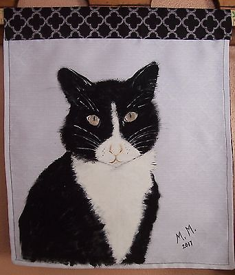 Hand painted original, Black and white Tuxedo cat painting, wall hanging