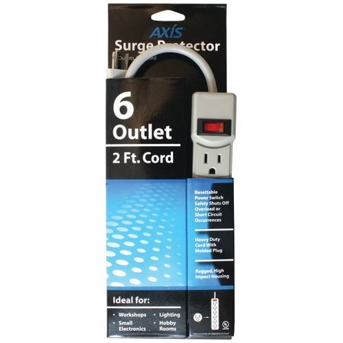 Axis 6-Outlet Surge Protector Heavy-duty Power Cord For Small, Basic Electronics
